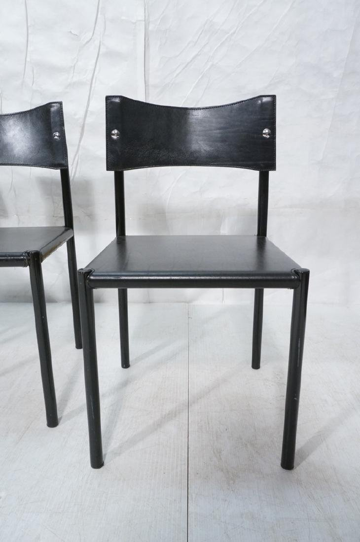 4 Black Leather Dining Chairs. Black leather seat - 2