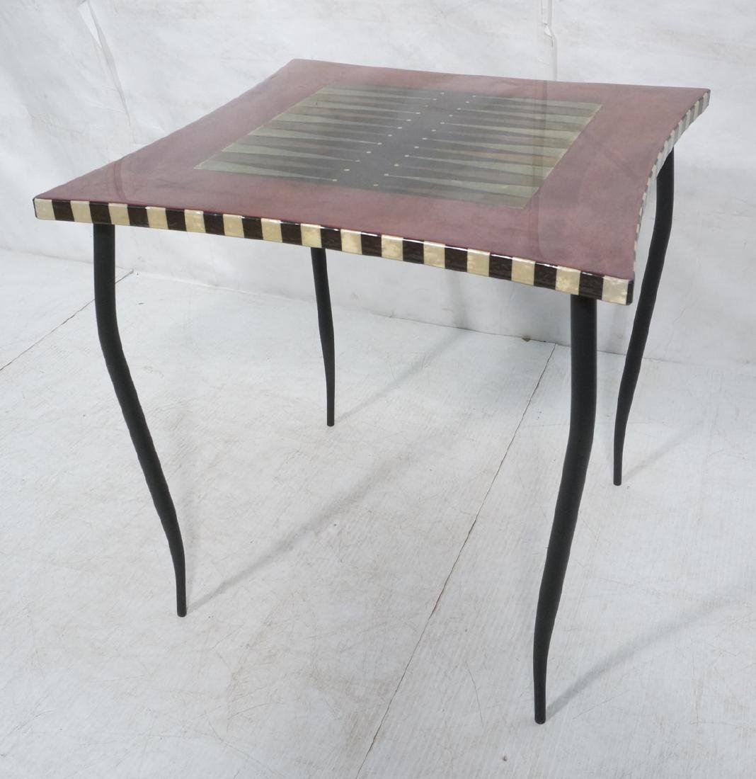LARA MOORE 2003 Game Table. Stylish Artisan Backg