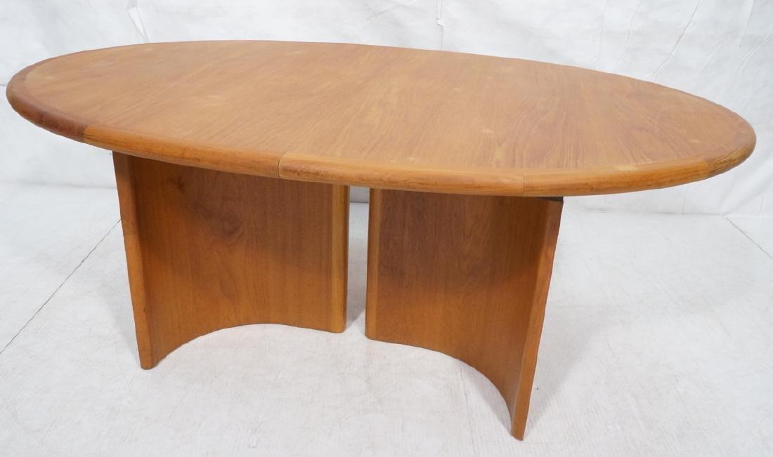 Danish Modern Teak Oval Dining Table Banded Trim.