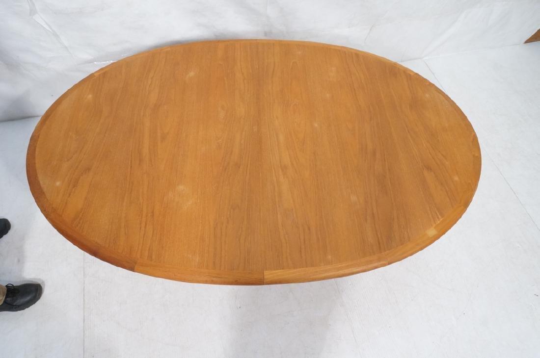 Danish Modern Teak Oval Dining Table Banded Trim. - 3