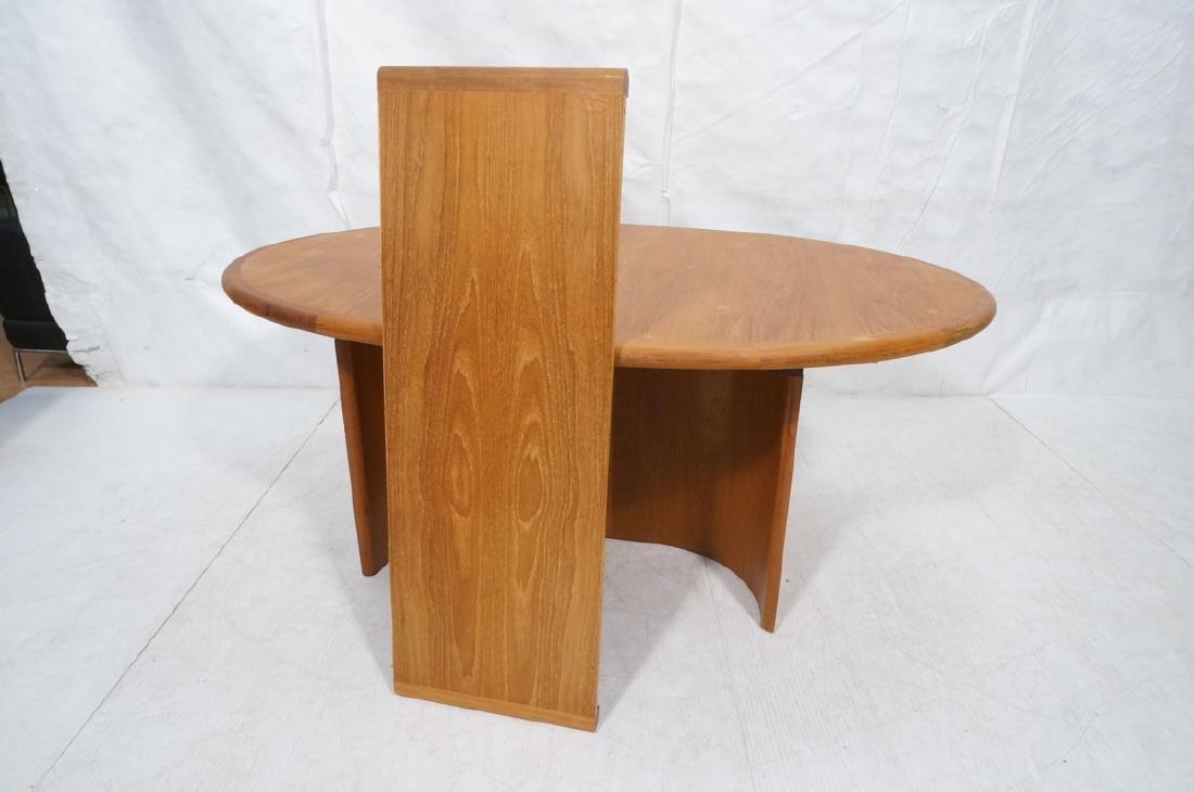 Danish Modern Teak Oval Dining Table Banded Trim. - 6