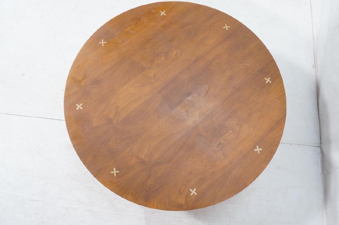 LANE Round American Modern Walnut Cocktail Table. - 2