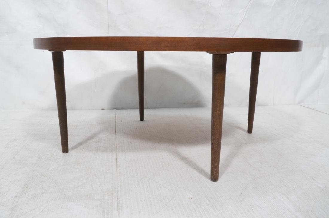 LANE Round American Modern Walnut Cocktail Table. - 3