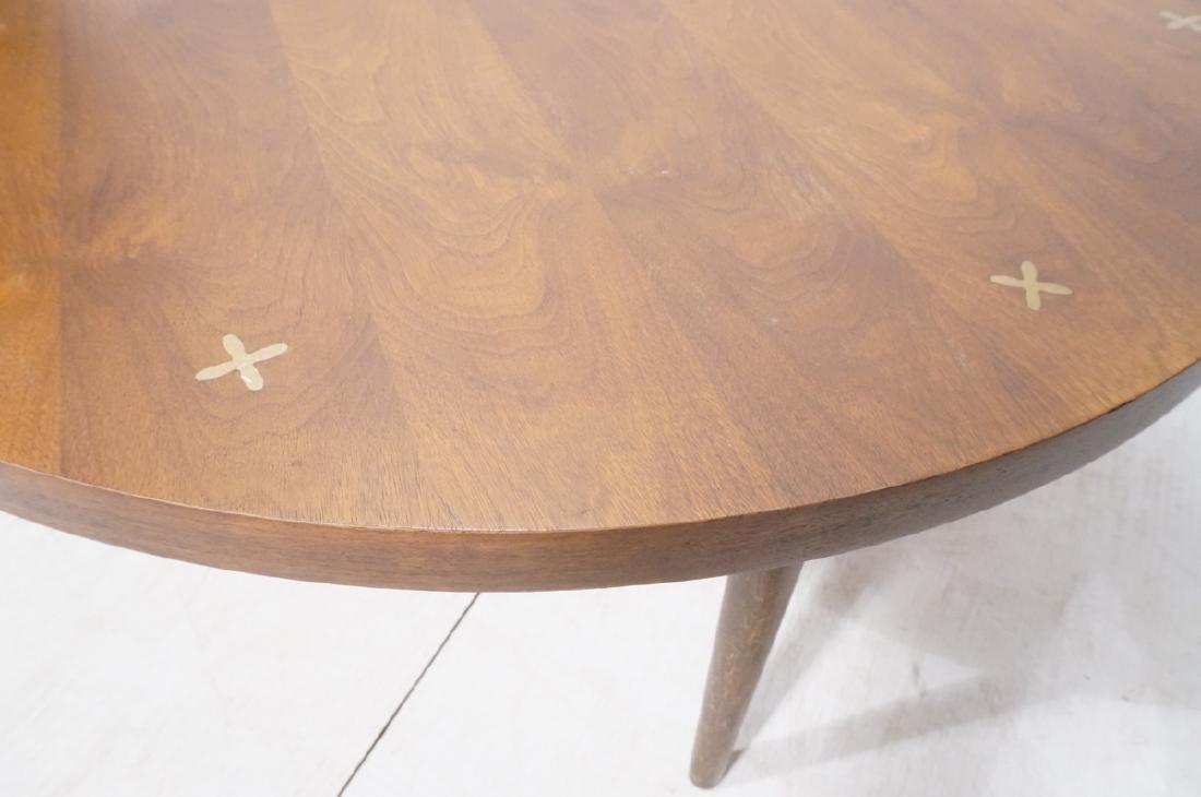 LANE Round American Modern Walnut Cocktail Table. - 4