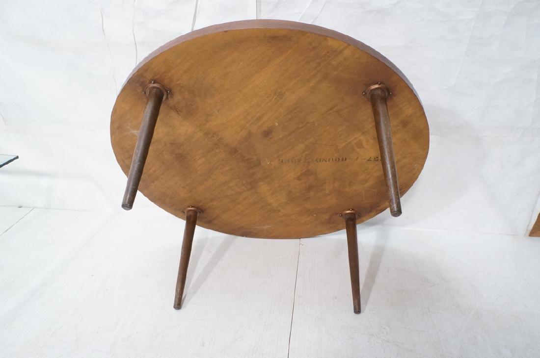 LANE Round American Modern Walnut Cocktail Table. - 7