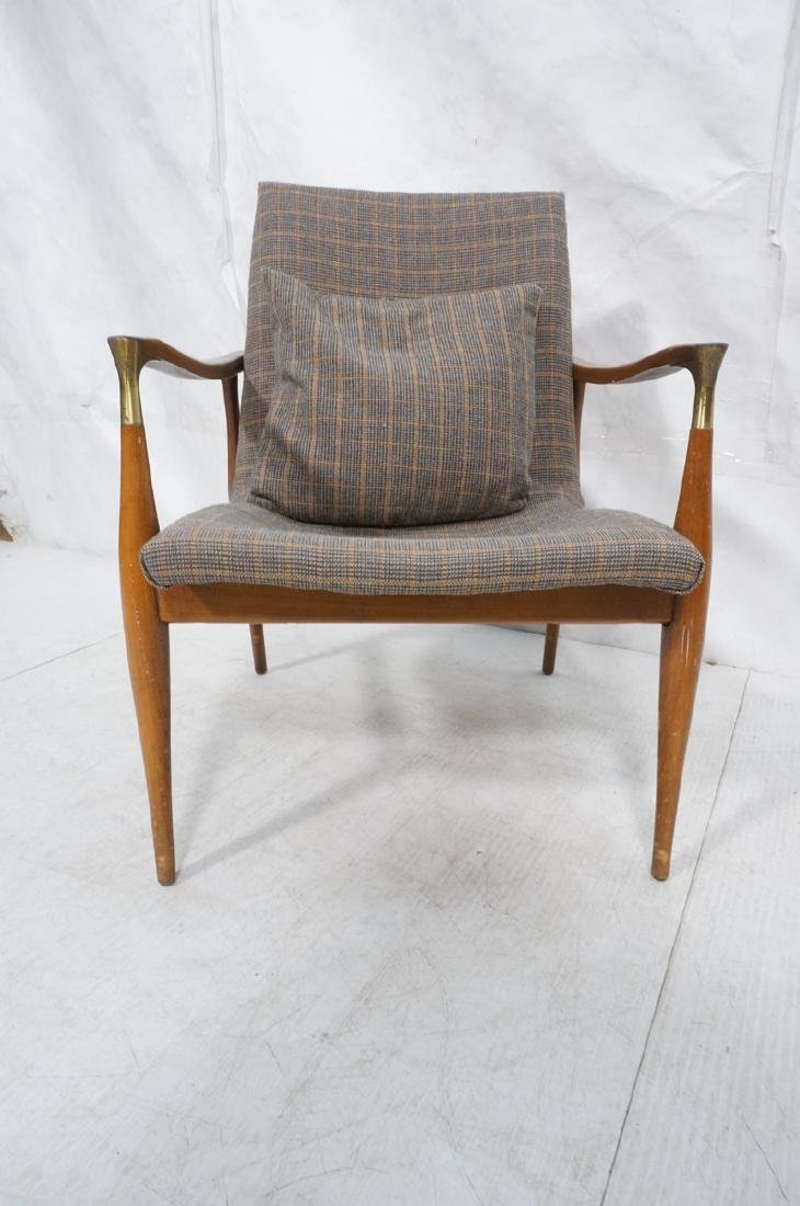 Mid Century Modern Lounge Chair. Stylized arms & - 2