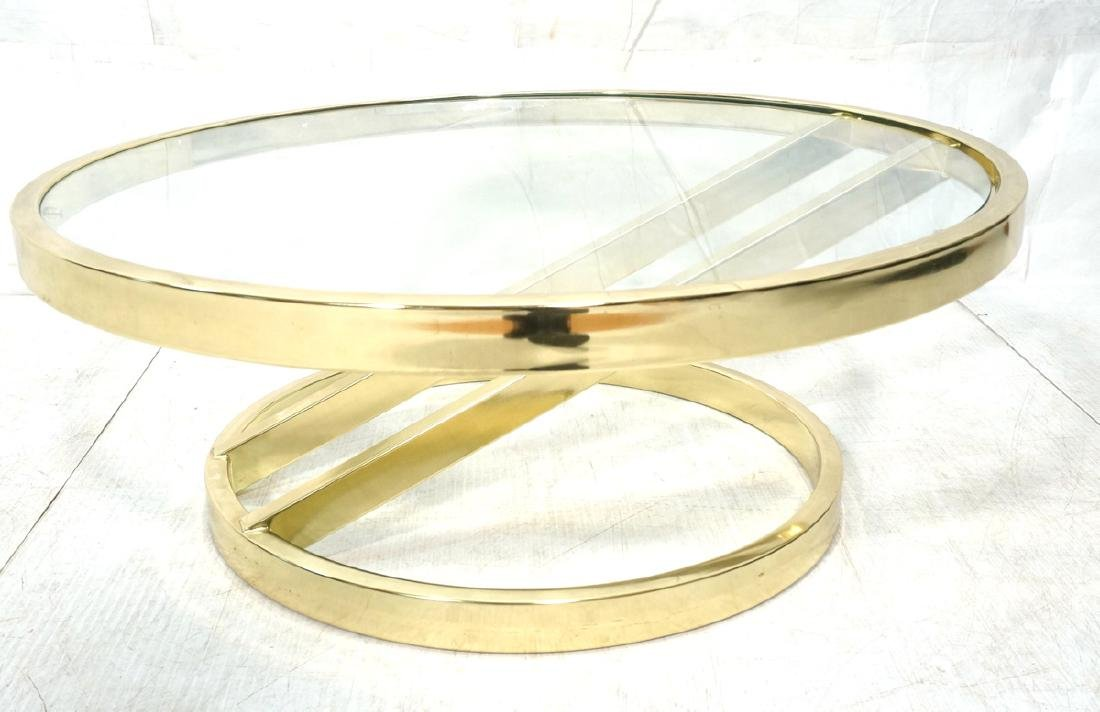 DIA Modern Brass Tone Glass Round Cocktail Table.