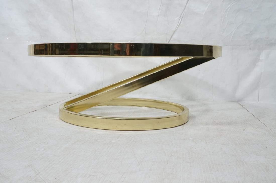 DIA Modern Brass Tone Glass Round Cocktail Table. - 2