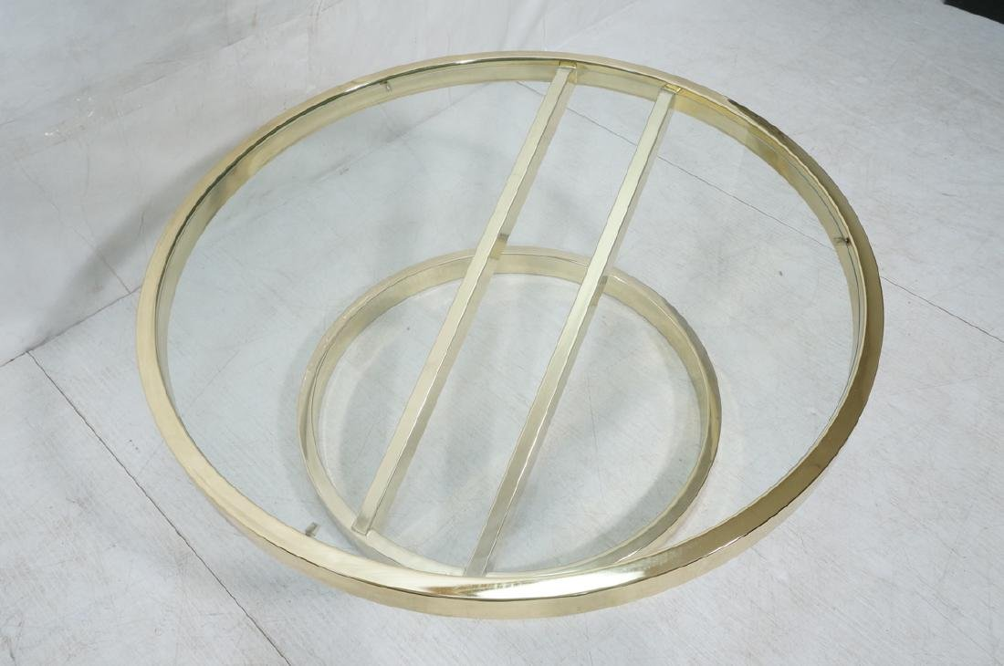 DIA Modern Brass Tone Glass Round Cocktail Table. - 4