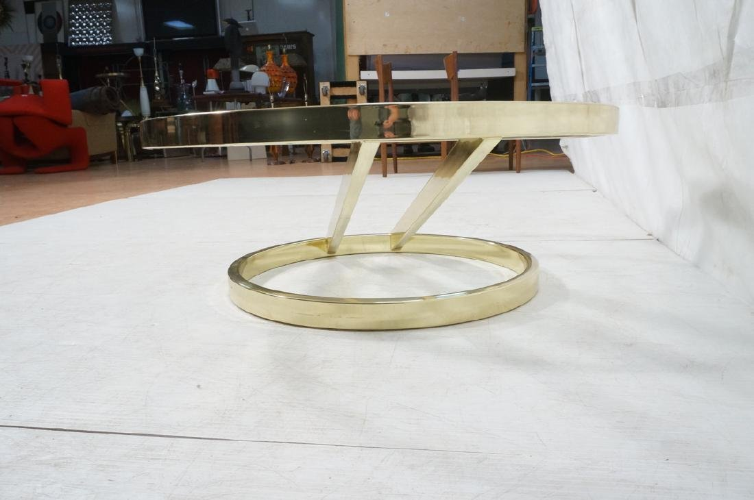 DIA Modern Brass Tone Glass Round Cocktail Table. - 5