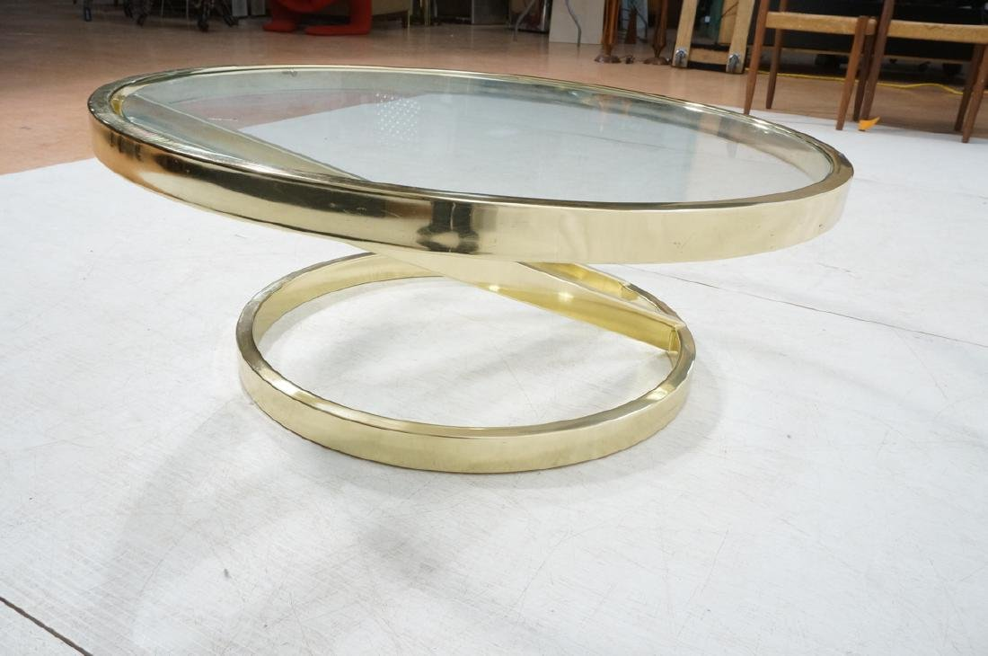 DIA Modern Brass Tone Glass Round Cocktail Table. - 6