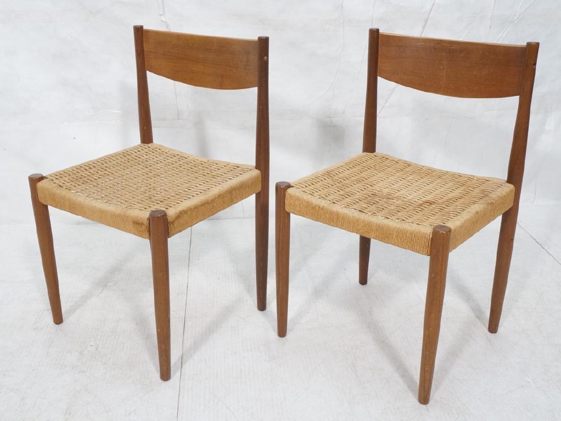 Pr Danish Modern Teak Dining Chairs Woven Rush Se