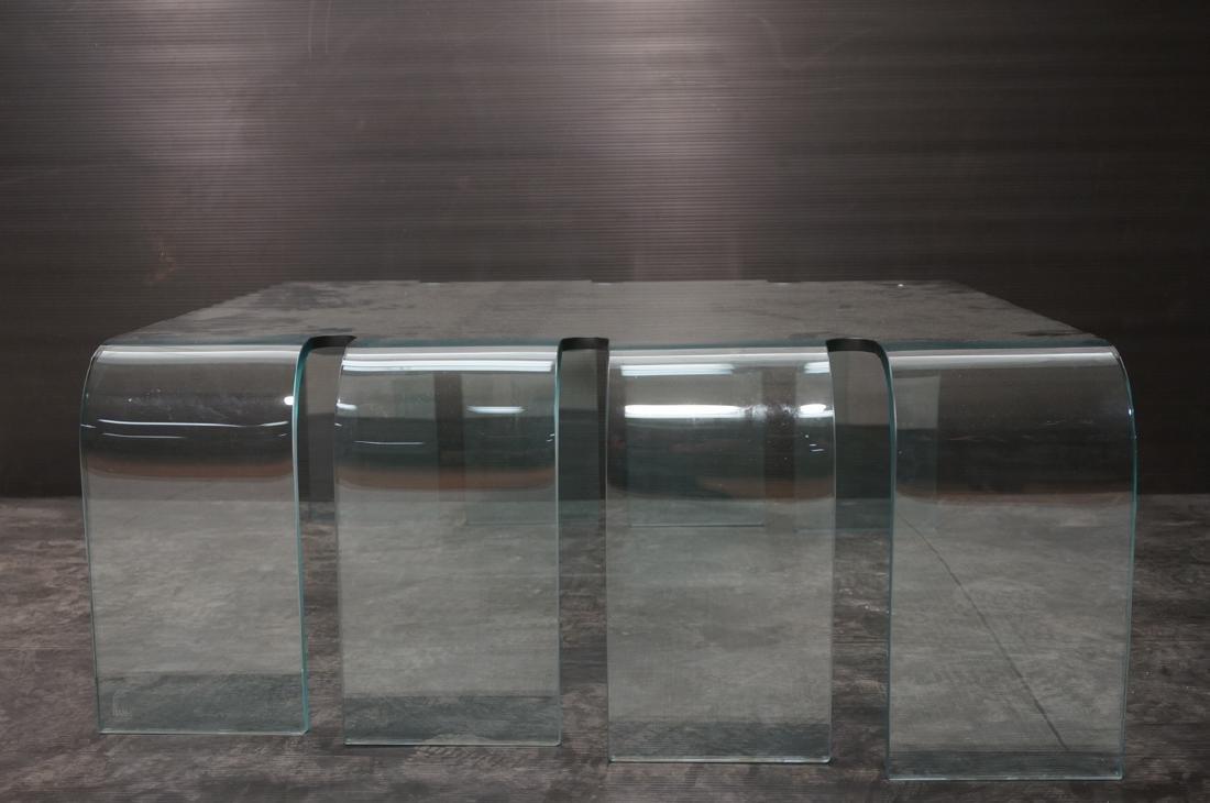 FIAM Italian Slump Molded Glass Cocktail Table. . - 2