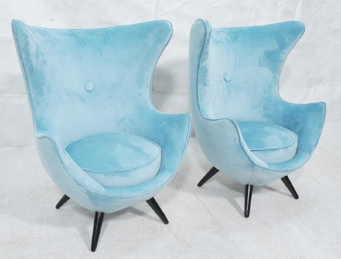 Pr Modernist Blue Velvet Wing Lounge Chairs. Styl