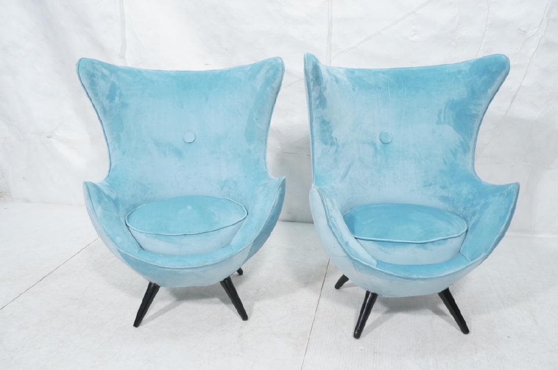 Pr Modernist Blue Velvet Wing Lounge Chairs. Styl - 2