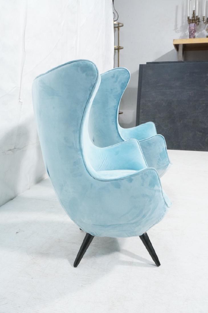 Pr Modernist Blue Velvet Wing Lounge Chairs. Styl - 3