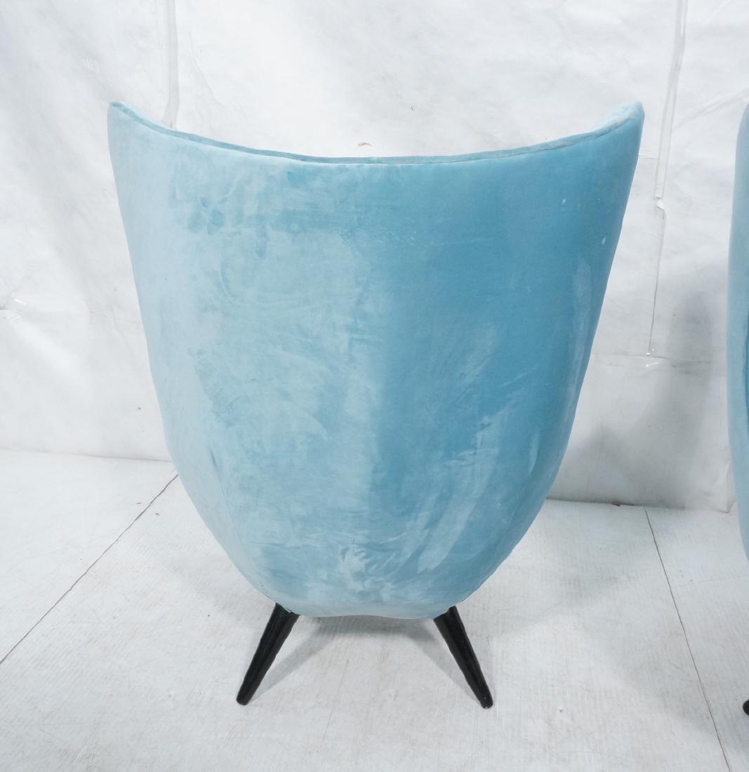 Pr Modernist Blue Velvet Wing Lounge Chairs. Styl - 4