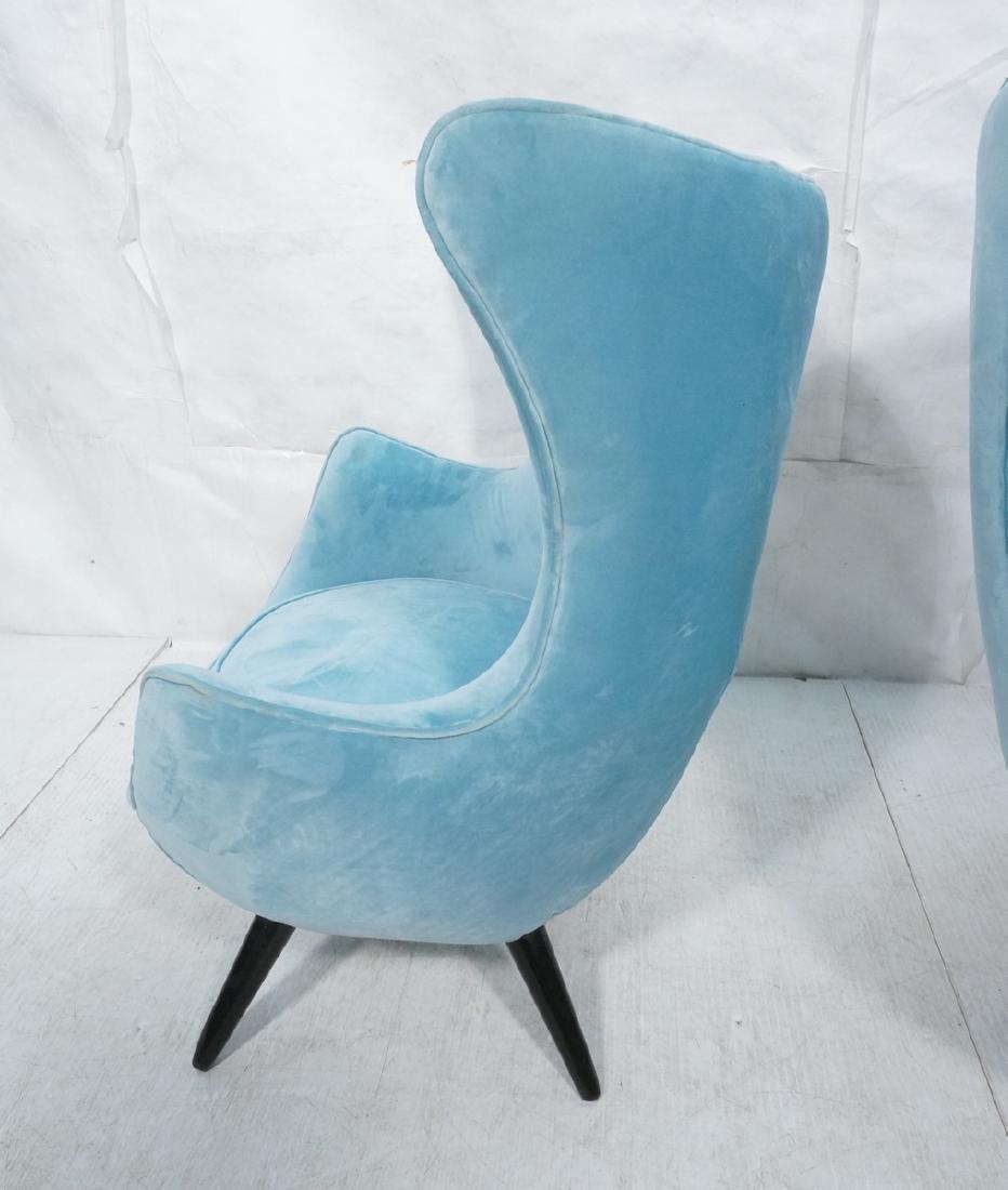 Pr Modernist Blue Velvet Wing Lounge Chairs. Styl - 5