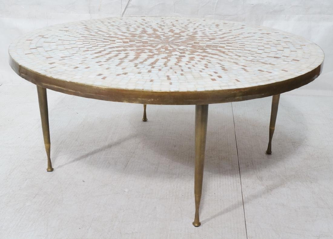 Large Round Tile Top Coffee Table. White & Copper