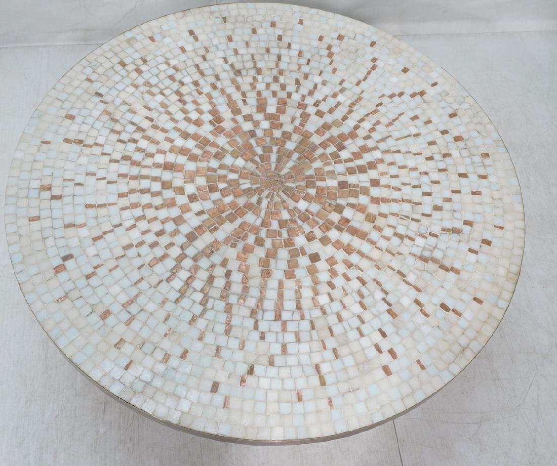 Large Round Tile Top Coffee Table. White & Copper - 2