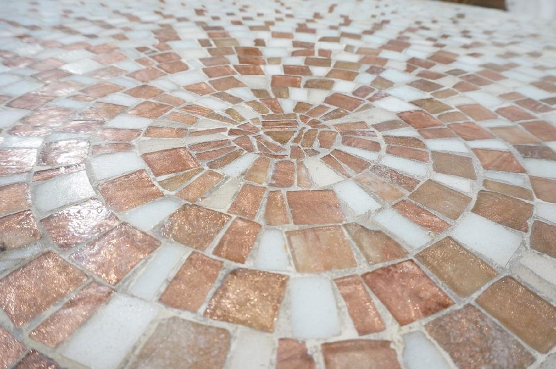 Large Round Tile Top Coffee Table. White & Copper - 7