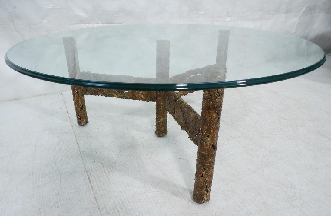 Brutalist Welded Torched Metal Coffee Table. Roun
