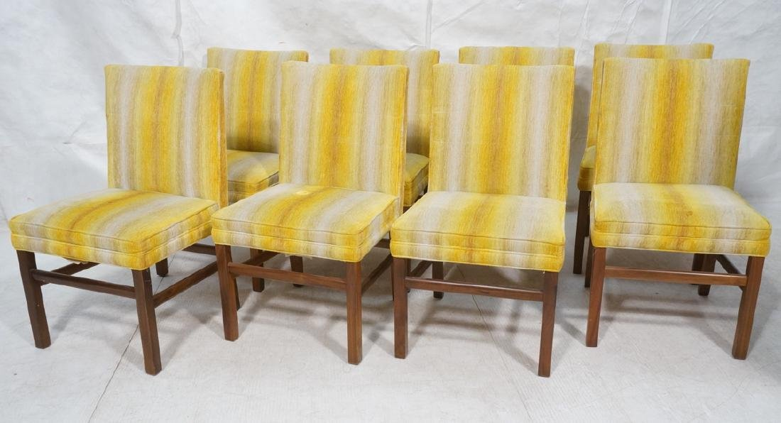 8 Walnut Dining Chairs Ombre Yellow Striped Uphol