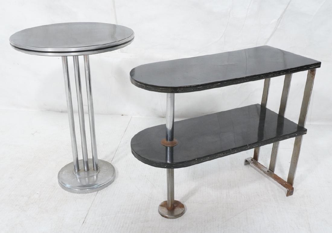 2 Art Deco Chrome Tube Side Tables. Hoffman. 1) R