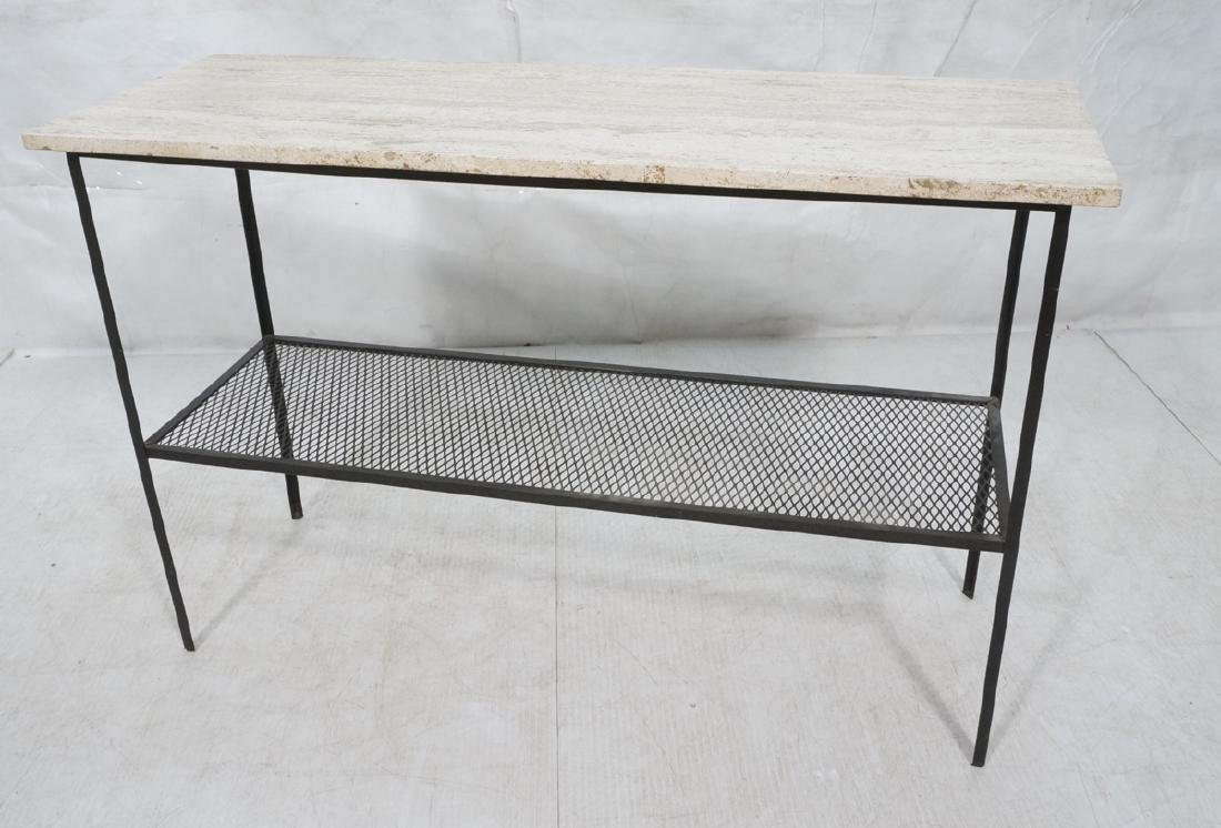 Travertine Marble Top & Black Iron Console Table.