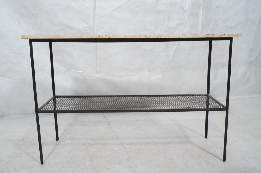 Travertine Marble Top & Black Iron Console Table. - 2