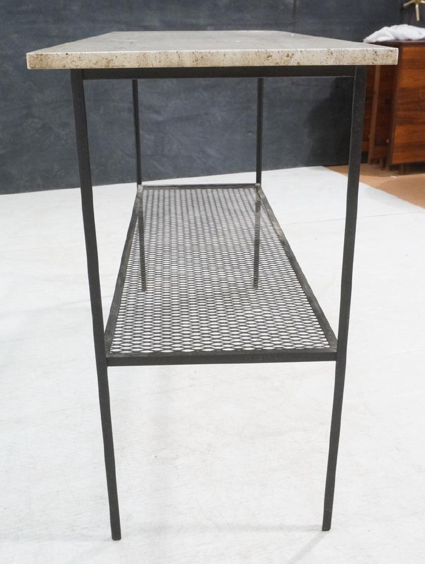 Travertine Marble Top & Black Iron Console Table. - 3