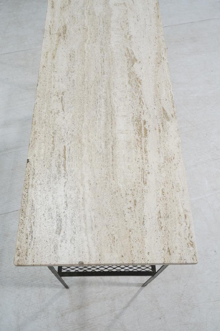 Travertine Marble Top & Black Iron Console Table. - 4