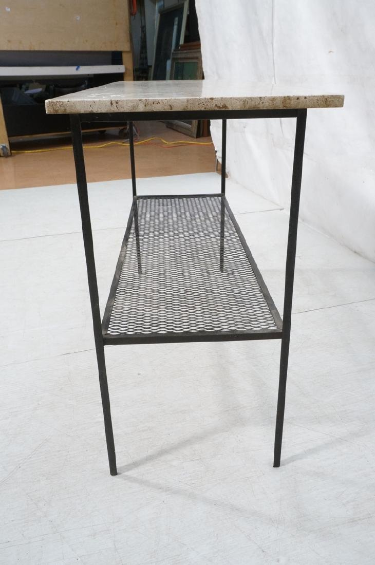 Travertine Marble Top & Black Iron Console Table. - 5