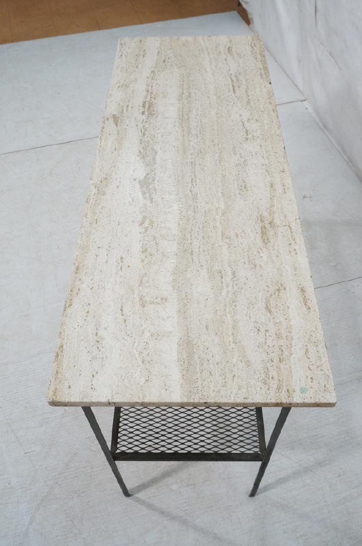 Travertine Marble Top & Black Iron Console Table. - 6