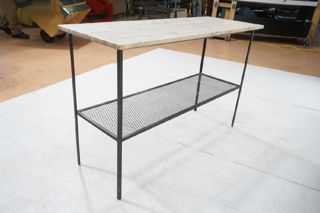 Travertine Marble Top & Black Iron Console Table. - 7