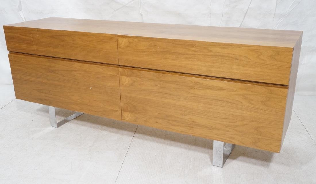 Modernist Walnut 4 Drawer Credenza Sideboard Cabi