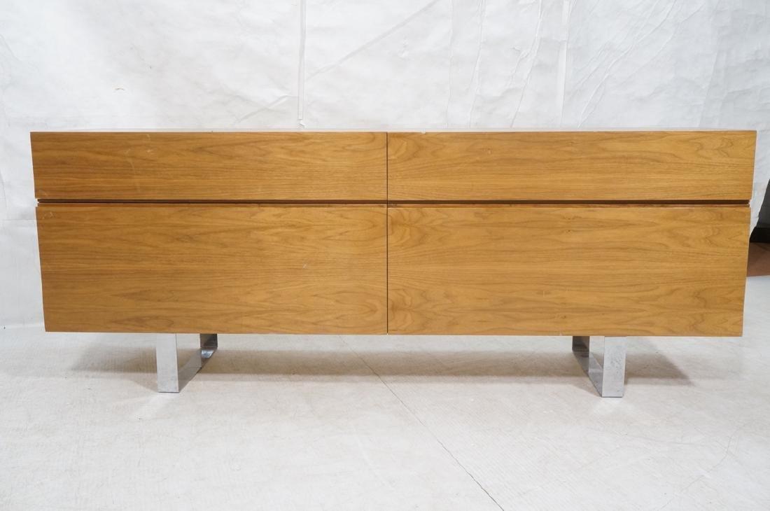 Modernist Walnut 4 Drawer Credenza Sideboard Cabi - 2