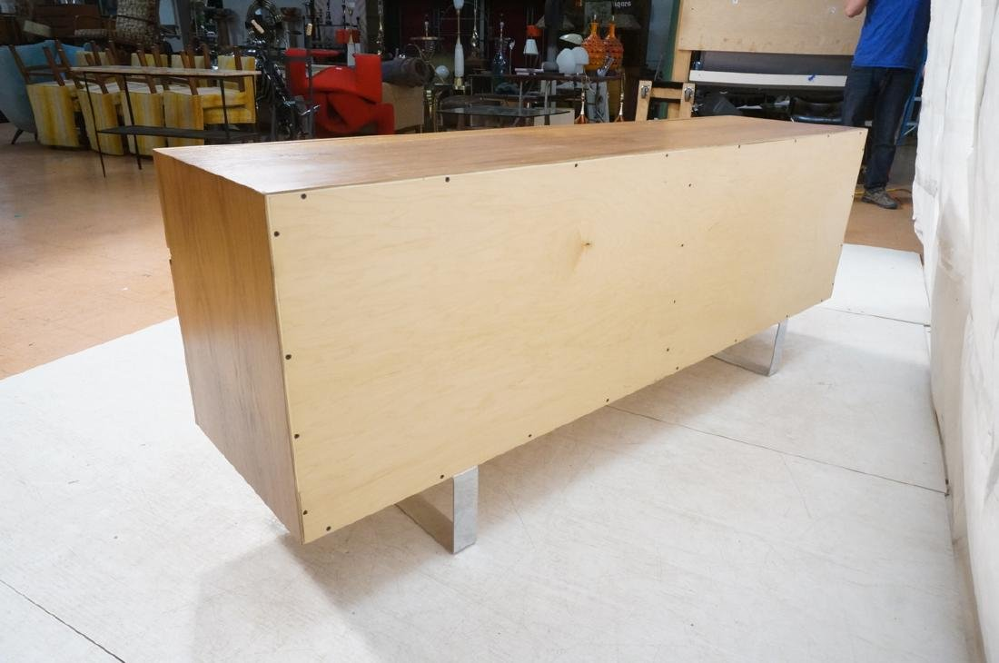 Modernist Walnut 4 Drawer Credenza Sideboard Cabi - 4