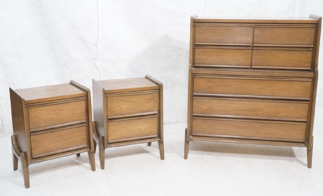 3pc UNITED Walnut Bedroom Furniture. 2 night stan