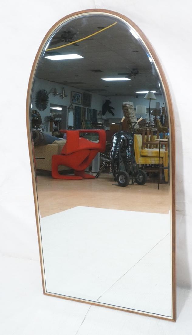 American Modern Walnut Brass Trim Mirror. Arched