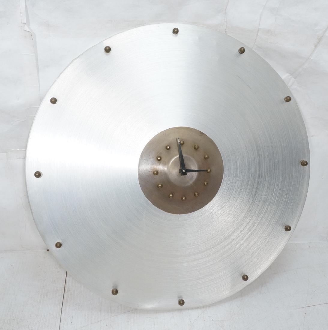 Spun Aluminum Industrial Style Wall Clock. Large