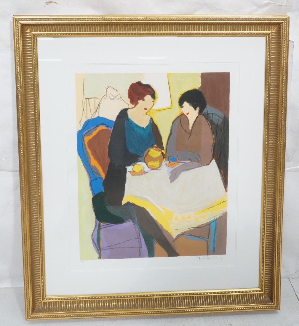 TARKAY Serigraph Print Ladies having tea. Profess