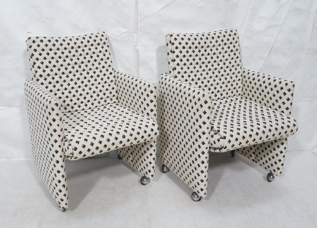Pr Italian Style Upholstered Arm Lounge Chairs. F