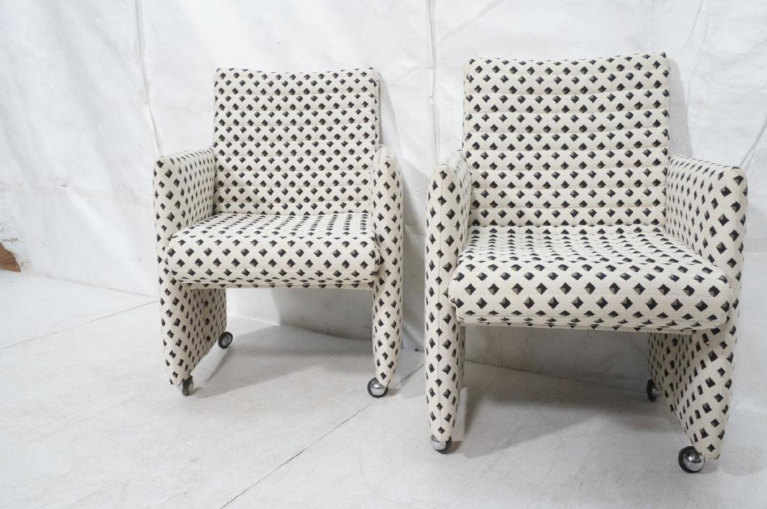 Pr Italian Style Upholstered Arm Lounge Chairs. F - 3