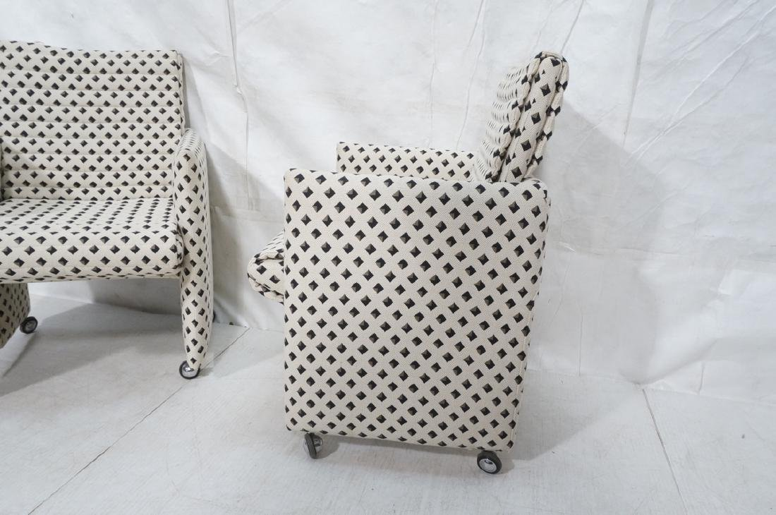Pr Italian Style Upholstered Arm Lounge Chairs. F - 4