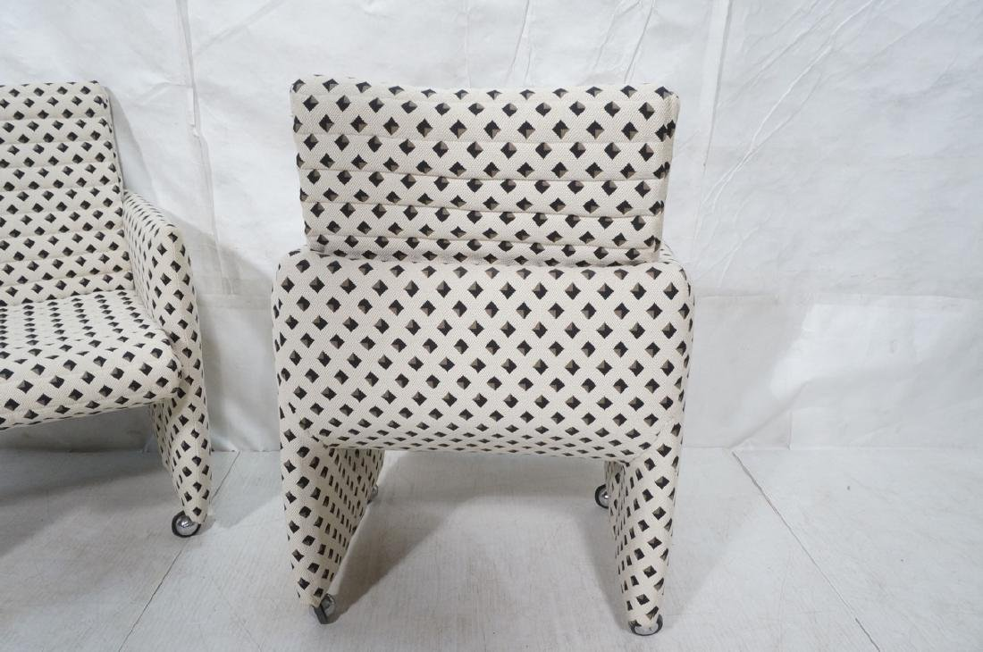 Pr Italian Style Upholstered Arm Lounge Chairs. F - 5