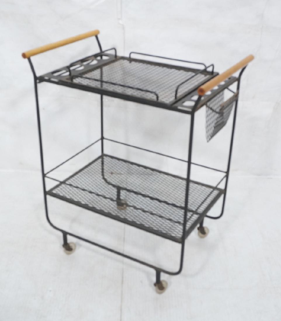 Rolling Black Metal Modernist Bar Cart. Two Diamo