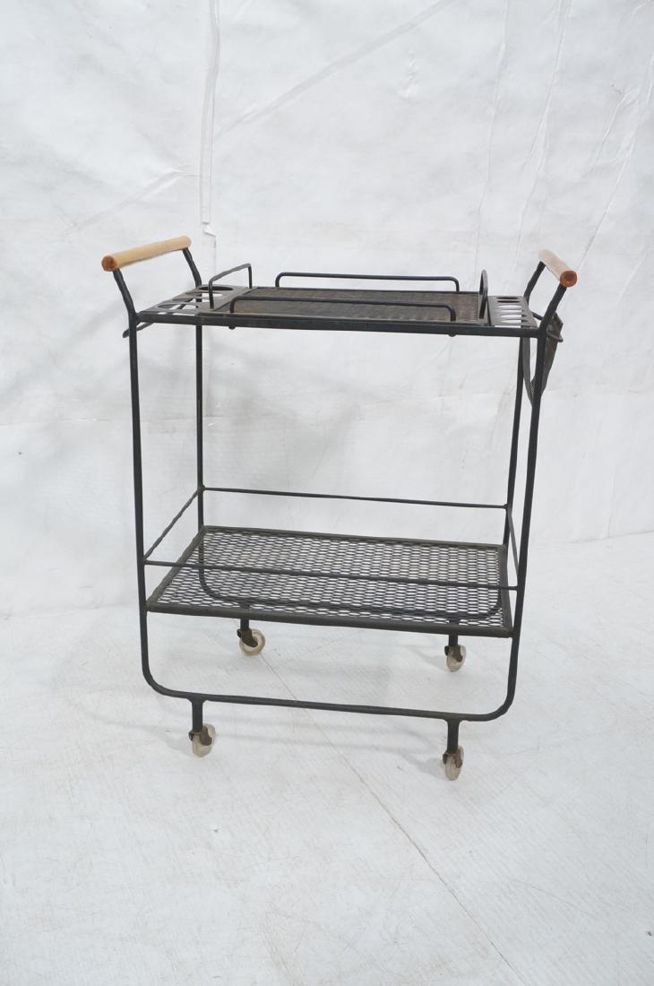 Rolling Black Metal Modernist Bar Cart. Two Diamo - 2