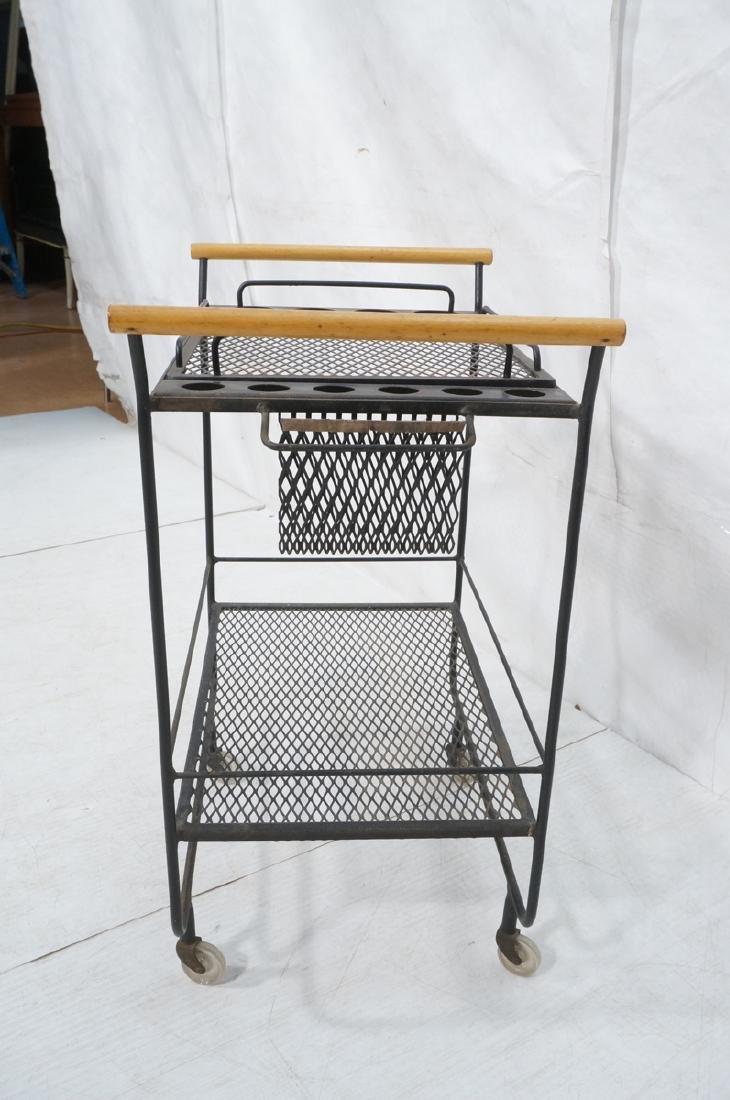 Rolling Black Metal Modernist Bar Cart. Two Diamo - 3