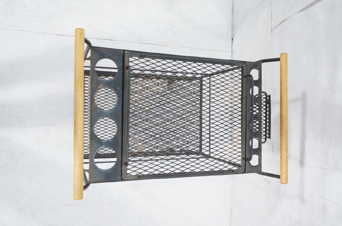 Rolling Black Metal Modernist Bar Cart. Two Diamo - 5